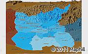 Political Shades Panoramic Map of Ratana Kiri, darken