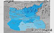 Political Shades Panoramic Map of Ratana Kiri, desaturated