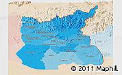 Political Shades Panoramic Map of Ratana Kiri, lighten