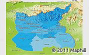 Political Shades Panoramic Map of Ratana Kiri, physical outside
