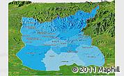 Political Shades Panoramic Map of Ratana Kiri, satellite outside