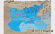 Political Shades Panoramic Map of Ratana Kiri, semi-desaturated