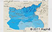 Political Shades Panoramic Map of Ratana Kiri, shaded relief outside
