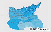 Political Shades Panoramic Map of Ratana Kiri, single color outside
