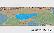 Political Panoramic Map of Chong Kal, semi-desaturated