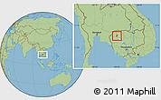 Savanna Style Location Map of Kralanh