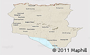 Shaded Relief Panoramic Map of Siem Reap, cropped outside