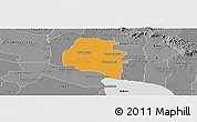 Political Panoramic Map of Pouk, desaturated