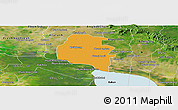 Political Panoramic Map of Pouk, satellite outside