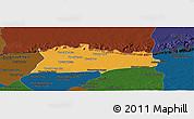 Political Panoramic Map of Samroung, darken
