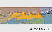 Political Panoramic Map of Samroung, semi-desaturated