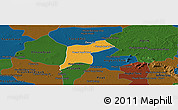 Political Panoramic Map of Srey Snom, darken