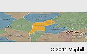 Political Panoramic Map of Srey Snom, semi-desaturated