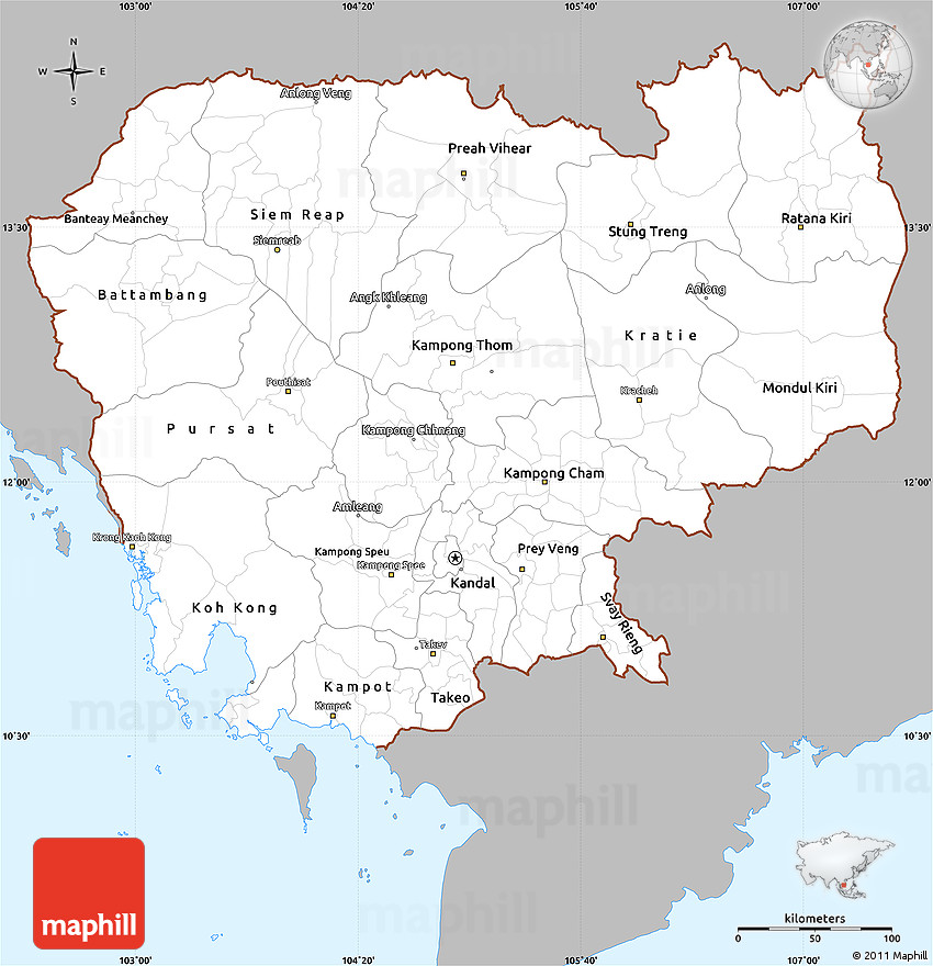 Simple Site Map: Gray Simple Map Of Cambodia, Single Color Outside