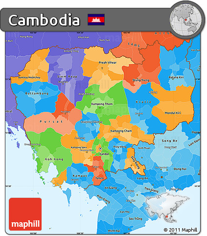 Free Political Simple Map of Cambodia political shades outside
