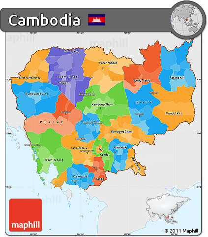 Free Political Simple Map of Cambodia single color outside