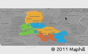 Political Panoramic Map of Svay Rieng, desaturated