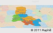 Political Panoramic Map of Svay Rieng, lighten