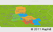 Political Panoramic Map of Svay Rieng, physical outside