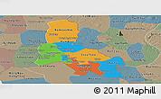 Political Panoramic Map of Svay Rieng, semi-desaturated