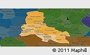 Political Shades Panoramic Map of Svay Rieng, darken