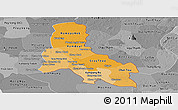 Political Shades Panoramic Map of Svay Rieng, desaturated