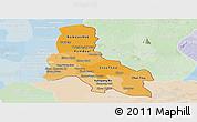 Political Shades Panoramic Map of Svay Rieng, lighten
