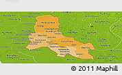Political Shades Panoramic Map of Svay Rieng, physical outside