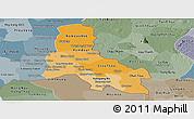 Political Shades Panoramic Map of Svay Rieng, semi-desaturated