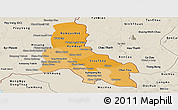 Political Shades Panoramic Map of Svay Rieng, shaded relief outside