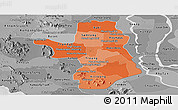 Political Shades Panoramic Map of Takeo, desaturated