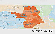 Political Shades Panoramic Map of Takeo, lighten