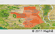 Political Shades Panoramic Map of Takeo, satellite outside