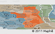 Political Shades Panoramic Map of Takeo, semi-desaturated