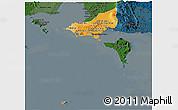 Political Shades Panoramic Map of Tonle Sap, darken