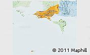 Political Shades Panoramic Map of Tonle Sap, lighten