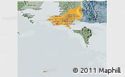 Political Shades Panoramic Map of Tonle Sap, semi-desaturated