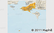 Political Shades Panoramic Map of Tonle Sap, shaded relief outside