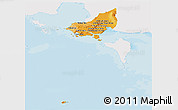 Political Shades Panoramic Map of Tonle Sap, single color outside