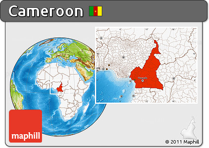 Physical Location Map of Cameroon, highlighted continent