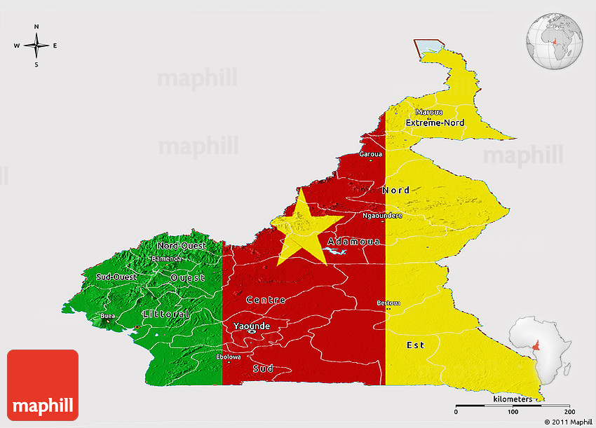 Flag panoramic map of cameroon 2d ccuart Choice Image