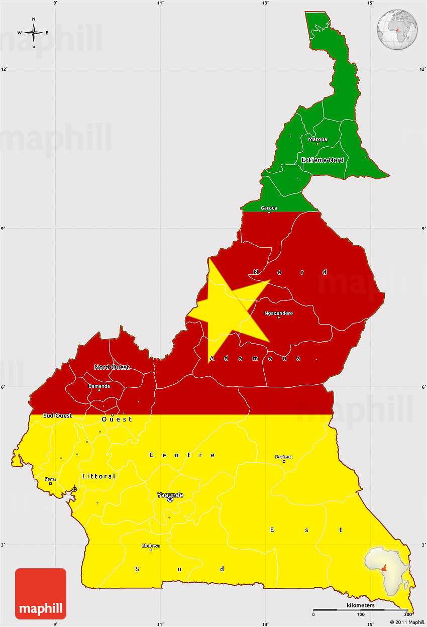 Flag Simple Map Of Cameroon Flag Aligned To The Middle - Cameroon map