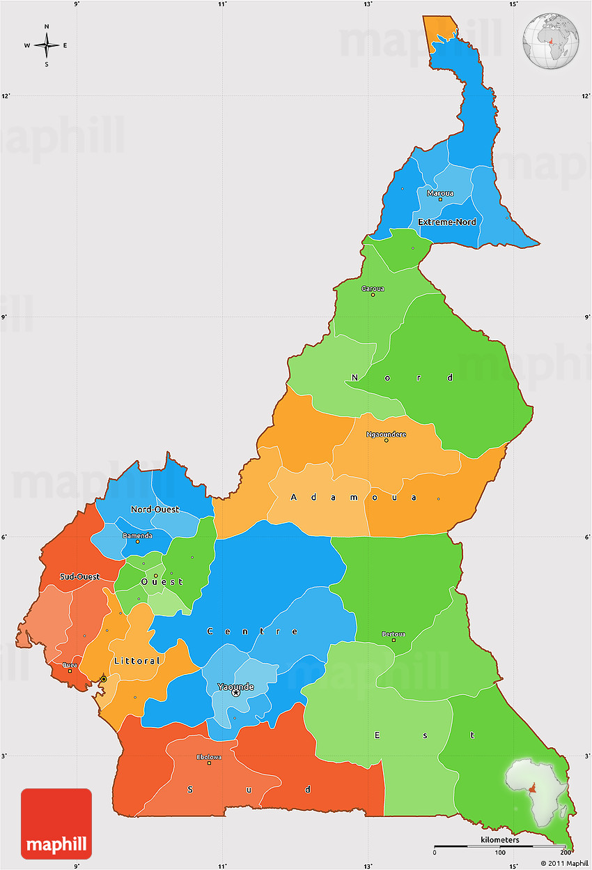 Political Simple Map of Cameroon, cropped outside