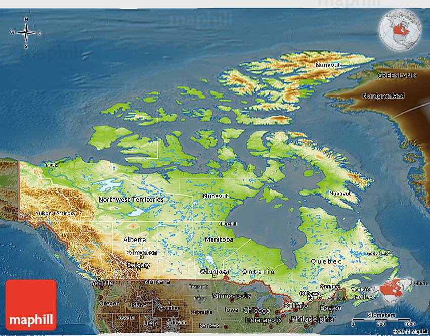 Physical 3D Map of Canada, darken