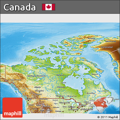 Free Physical 3D Map of Canada
