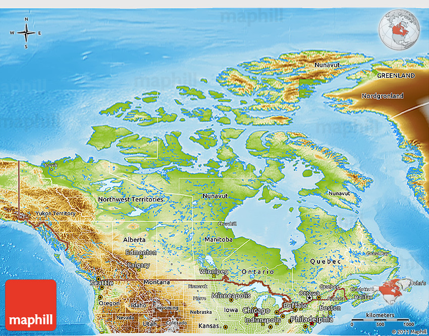 Map Of Canada 3d.Physical 3d Map Of Canada