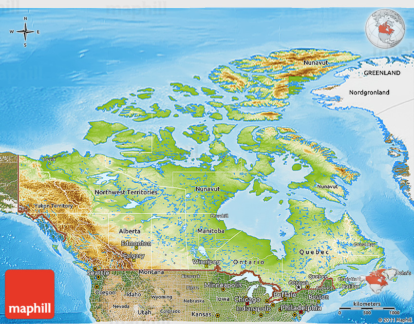 Physical D Map Of Canada Satellite Outside Shaded Relief Sea - Relief map of canada