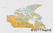 Political Shades 3D Map of Canada, cropped outside