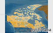 Political Shades 3D Map of Canada, darken