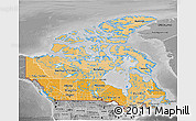 Political Shades 3D Map of Canada, desaturated